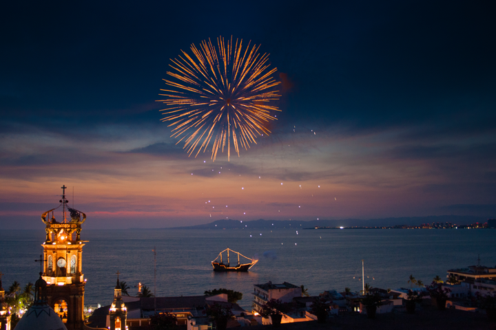 Every night the sky in front of the Malecon lights up with firework displays in Puerto Vallarta
